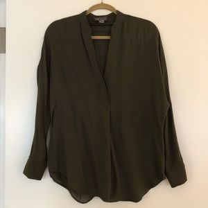 Moss green long sleeved Vince blouse